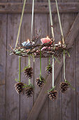 Suspended Advent wreath decorated with pine cones and candles in paper cake cases