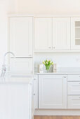 Empty white kitchen with panelled cabinet doors