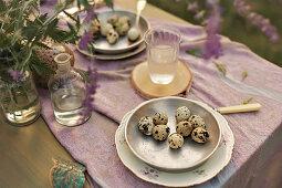 Quail eggs on plates on set table