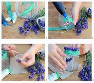 Windlicht mit duftenden Lavendelblüten und kariertes Dekoband herstellen
