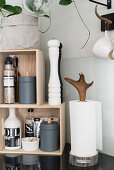Salt and pepper mills and kitchen roll on shelves on top of black worksurface