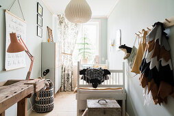 Narrow child's room in vintage style