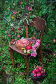 Apple rose tart on wooden chair in garden