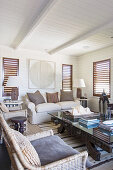 Louvre windows in living room in earthy shades