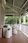 White rattan furniture on veranda