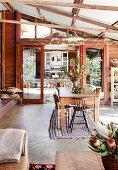 Dining room in a barn converted into a residential building