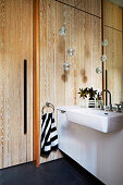 Vanity and wall mirror in the bathroom with wooden paneling