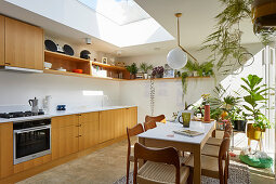 Dining table and chairs in open-plan kitchen with houseplants and skylight