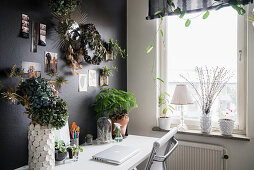 Plants on desk against black wall