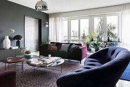 Elegant living room in dark shades