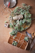 Handmade chickweed Easter nest with twine, egg box and feathers