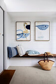 Modern art over integrated bench with cushions