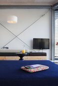 Modern houseboat: customer sofas and TV in living area