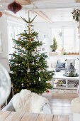 Christmas tree in white living room