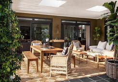 Veranda in rustic, African style