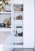 Open kitchen cupboard in modern white kitchen