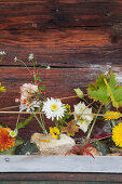 Ornamental squash and autumnal flowers arranged in dish