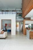 Open living area with gallery in an ecological architect's house