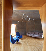 Living room with curved walls in architect-designed house
