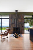 Two dogs in front of the fireplace in the living room with a view of nature