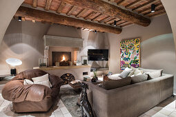 Modern living room in earthy shades in rustic country house