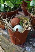 Small metal bucket as Easter basket