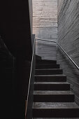 Stairwell with board-formed concrete walls