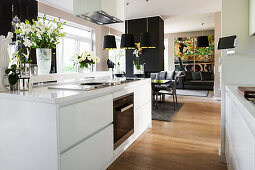 View into living space from modern kitchen with white cabinets
