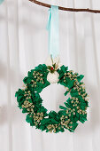 Christmas wreath handmade from fabric remnants