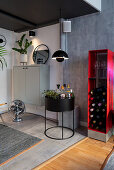 Red wine rack, home bar and fan in masculine living room