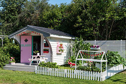 Play house in American fifties style in garden