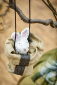 Bunny made from painted modelling clay in small bag