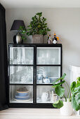 Crockery and glasses in black, half-height, glass-fronted cabinet