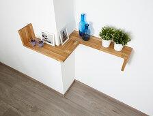 DIY shelf running around corner