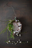 Spring wreath on pewter plate