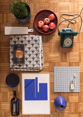 Mood board for Japandi-style interior design in shades of blue