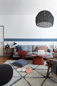 Japandi-style living room in blue and white