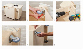 Instructions for building a workshop trolley (attaching castors)
