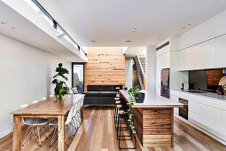 Long multi-functional interior with modern open-plan kitchen