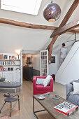 Vintage-style attic living room