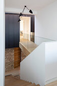 Elegant stairwell with glass balustrade
