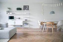 Modern, Scandinavian-style, open-plan interior