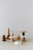 Christmas decorations and small sculptures made from wood remnants