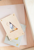 Leather picture frame with triangular opening