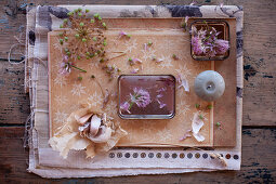 Dried garlic flowers, chive flowers, candle and garlic bulb decorating table