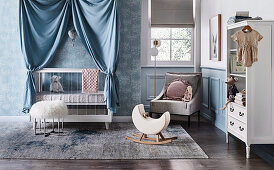 Baby room with cot, armchair and shelf