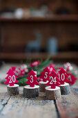 Nummerierte Filzbäumchen auf Holzscheiben