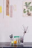 Acrylic Desk organizer with desk accessories under a collage