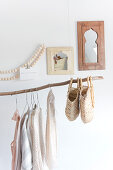 Clothes rail made from a branch