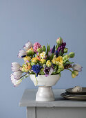 A spring bouquet of tulips, hyacinths, daffodils and grape hyacinths